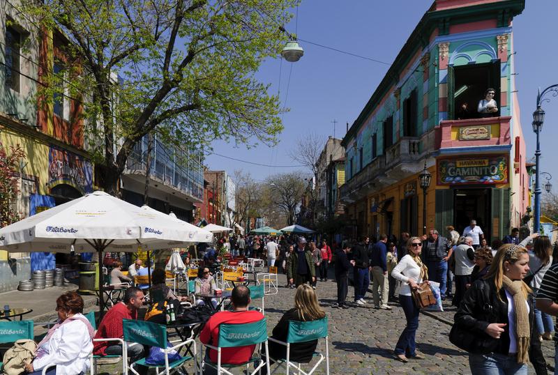 Rue bondée en Argentine